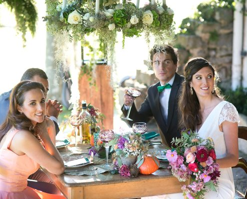 mariés et leur témoins à table organisation par drougARTevent