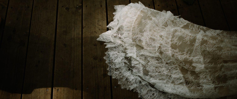 la traine de la robe de la mariée Pronovias